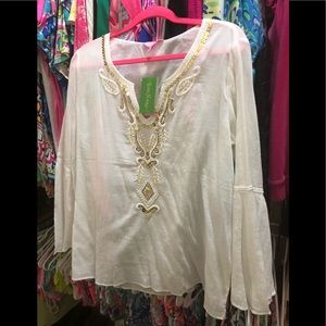 Lilly Pulitzer Audra Top Resort White Bling Gold